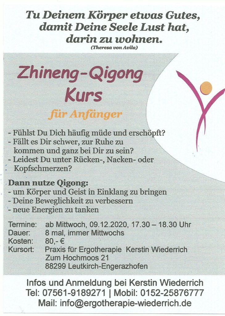 Flyer Anmeldung Zhineng Qigong Kurs neu